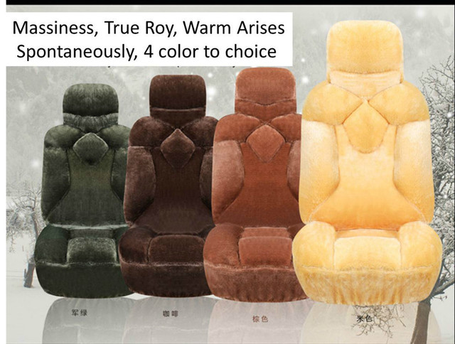 Wool Warm Hot Car Seat Cover Set For Winter Include Front Rear Bench Covers