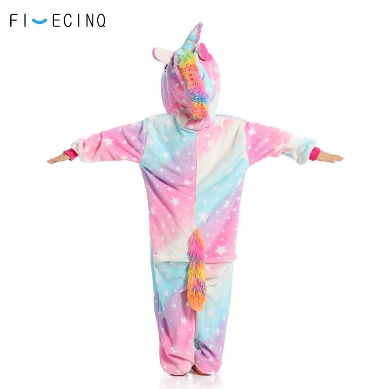 ... РАДУГА ЗВЕЗД Единорог Onesie Детские фланелевые пижамы в целом мягкие  милый комбинезон для девочек фестиваль вечерние ... 69dcc866b0c08