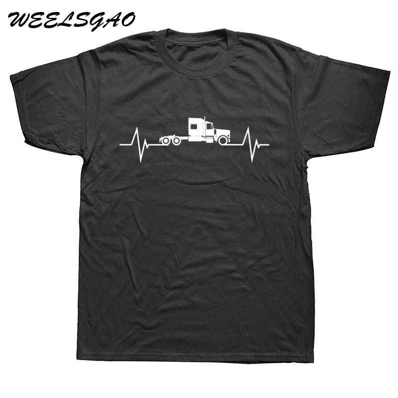 WEELSGAO New Summer Fashion Heartbeat of Truck T Shirt Men Cotton Short Sleeve Man Truck ...