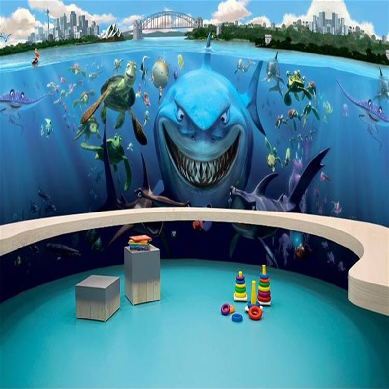 beibehang paper photography underwater world of cartoon shark restaurant childrens room 3d wall mural wallpaper for walls 3 d in wallpapers from home - Underwater World Restaurant