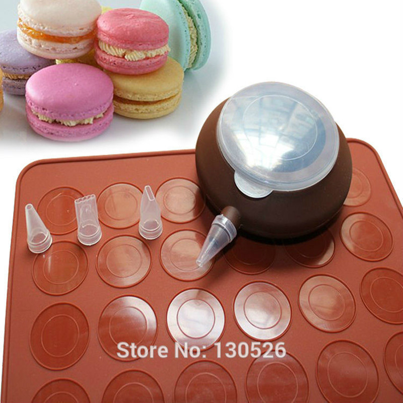 Macaron Silicone Mat Mold 48 Holes Cake Mold Dessert Decorate Tips Cream Squeezing Nozzle Tool DIY Cake Decorating Tools Set
