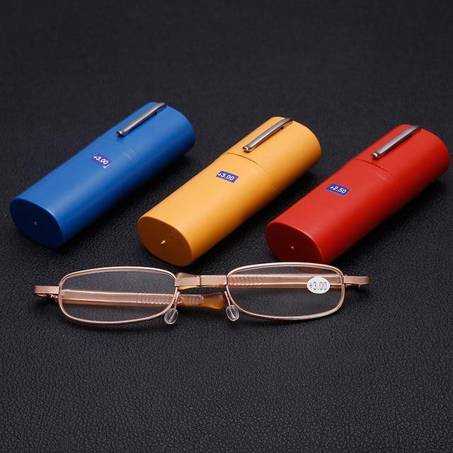 KUJUNY Folding Reading Glasses Men Portable Pen Case Hyperopia Prescription Eyeglasses Mens Womens Folding Presbyopic Eyewears