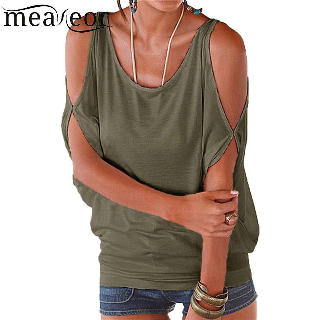 0c14f06c54 Camiseta Casual de mujer con hombros descubiertos suelta sólida manga corta  de murciélago Causal Color murciélago cuello redondo Camiseta No