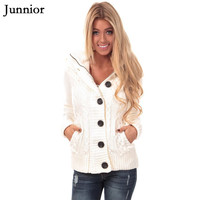 Womens Winter Cardigan Sweaters Cable Knit Open Front Hooded Button Down Sweater Coat Girls Sweaters