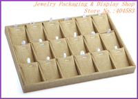 18 slots inserts removable Linen pendant jewelry tray without cover