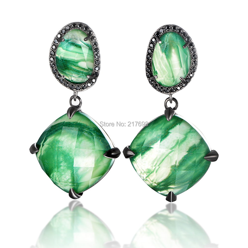 DORMITH 925 sterling silver luxury Natural South Africa green jasper drop earrings for women black gold plated