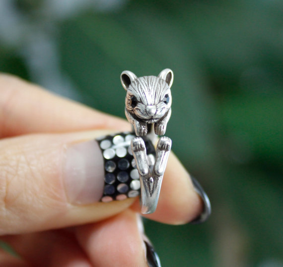 Cute Retro Animal Squirrel Hamster Mouse Wrap Ring--12Pcs/Lot( Antique Silver/Antique Golden 2 Colors Free Choice/Collocation)