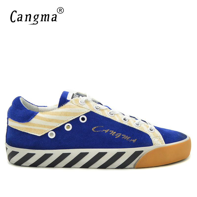 CANGMA Brand Fashion Platform Breathable Footwear Male Horsehair Suede Leather Flats Genuine Men Retro Casual Low Top Blue Shoes cangma italy deluxe brand women men casual golden shoes zebra silver genuine leather low sstar smile goose shoes zapatos mujer