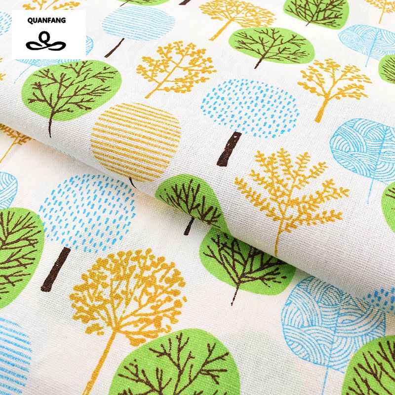 Printed Cotton Linen Fabric For Quilting,DIY Sewing,Sofa,Curtain,Bag,Cushion,Furniture Cover Material,Forest Pattern,Half Meter