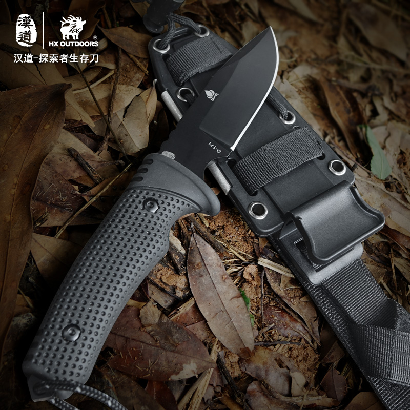 HX outdoor survival knife brand D2 steel blade fixed blade straight camping knives multi tactical rubber handle hand tools outlife new style professional military tactical multifunction shovel outdoor camping survival folding spade tool equipment