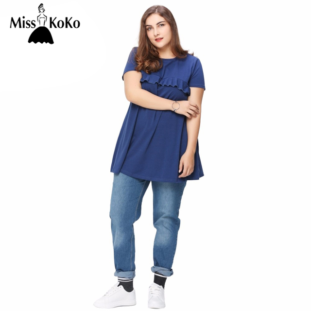 MissKoKo Plus Size New Fashion Women Clothing Basic Swing Dress With Ruffle  Detail Short Sleeve Big Size Dress 3XL 4XL 5XL 6XL 458b7d63e139