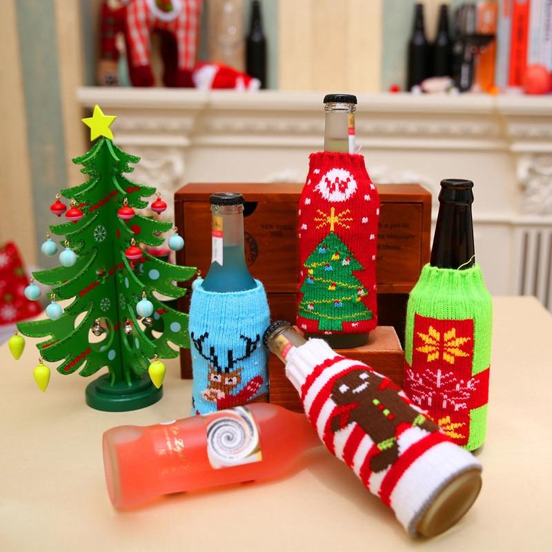 1pc Christmas Wine Bottle Decor Snow Deer Christmas Tree