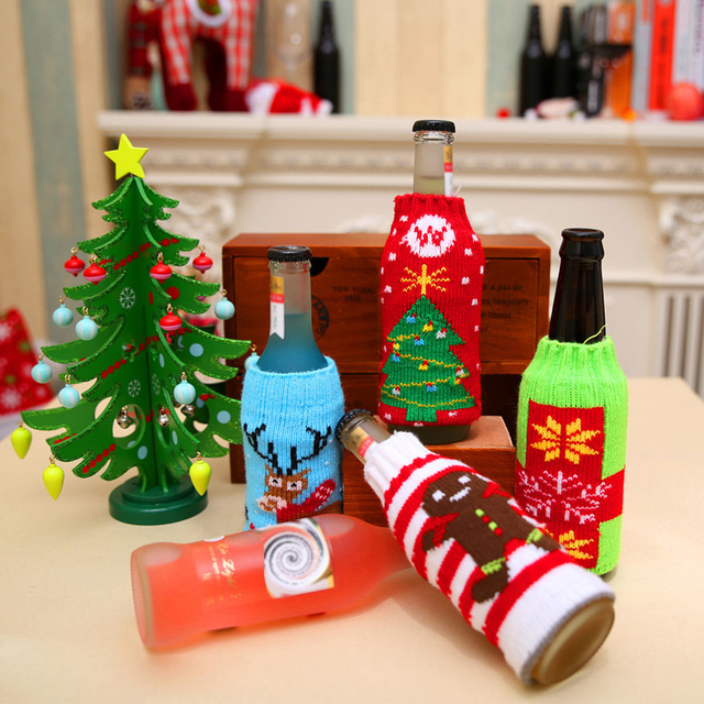 1pc christmas wine bottle decor snow deer christmas tree bottle cover clothes kitchen decoration for new