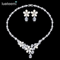 LUOTEEMI Freshwater Cultured Pearls Flower and Clear CZ Waterdrop Bridal Wedding Jewelry Set For Women Earrings Necklace Sets