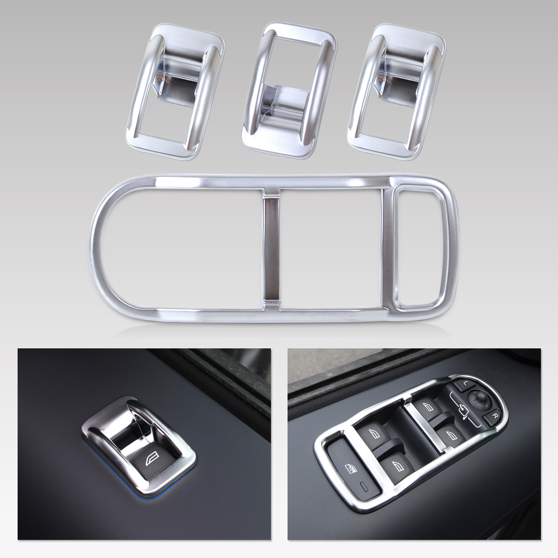 beler New 4pcs Chrome font b Interior b font Door Window Switch Panel Cover Trim for