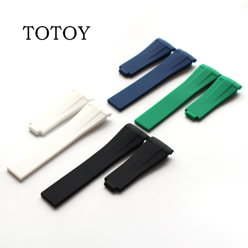 цена на TOTOY Brand 20mm Black Blue Green White Camouflage Men's Silicone Rubber GMT Strap Strap Daytona Submarine Character Submarine