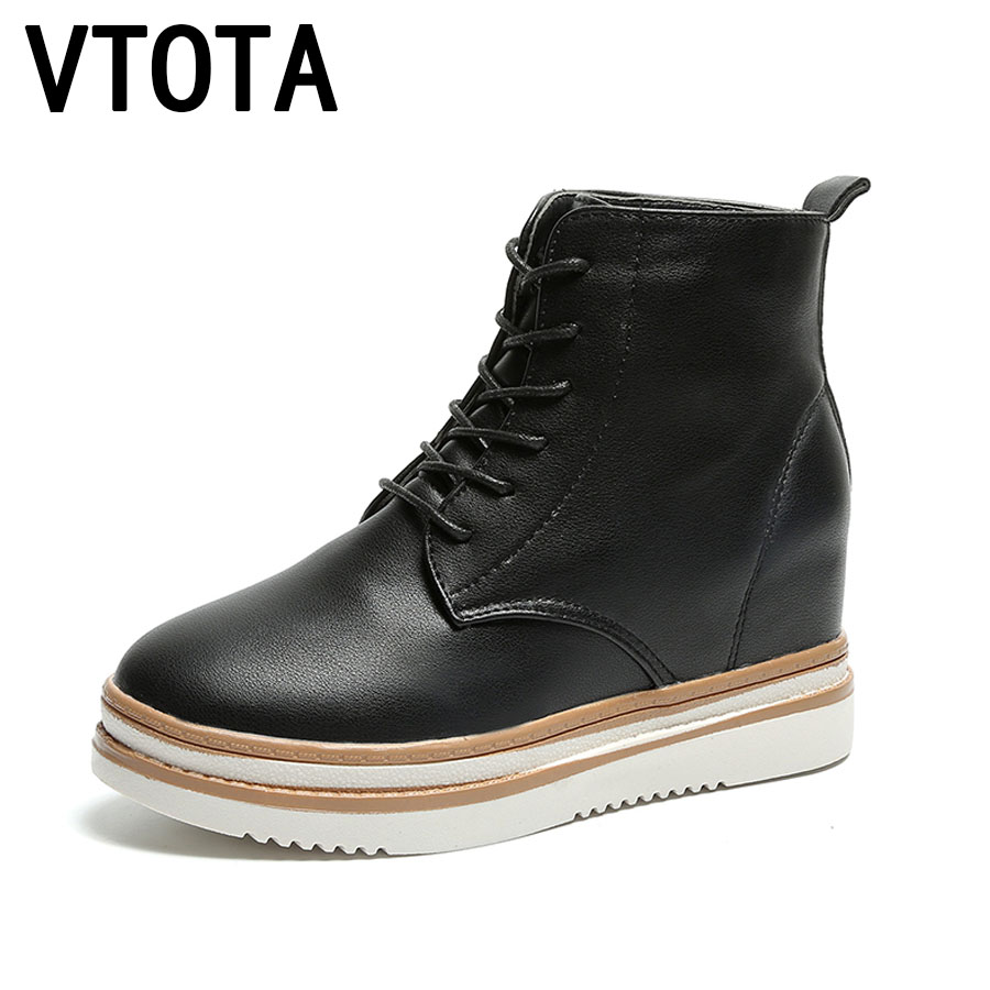 VTOTA Women Winter Boots Height Increasing Women Boots Lace-Up Flatform Flat Casual Shoes Botas Shoes Woman Ankle Boots E82
