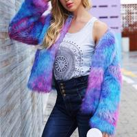 Women's Fashionable Long Sleeve Lapel Faux Fur Shearling Shaggy Coat Jacket