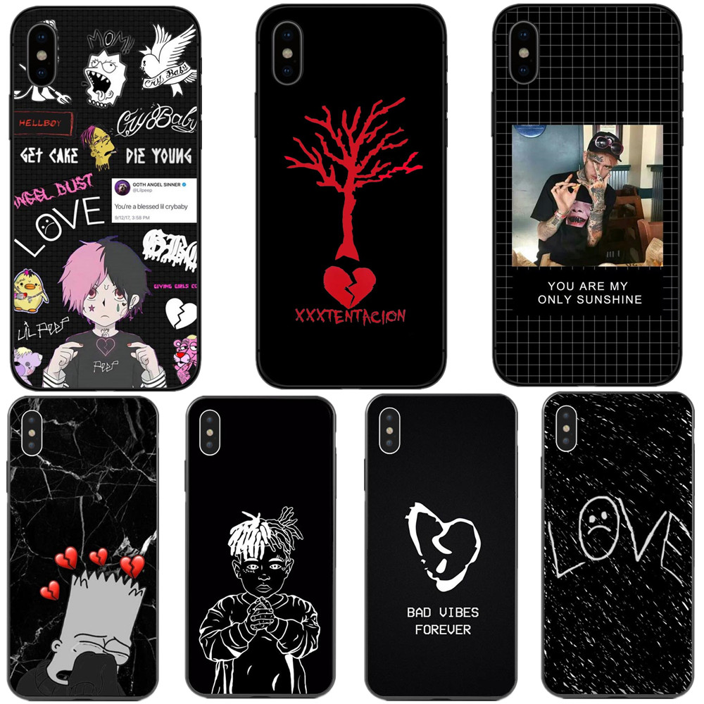 <font><b>Xxxtentacion</b></font> Bad vibes forever lil peep Black silicone Phone <font><b>Cases</b></font> Cover For <font><b>iPhone</b></font> 5 5S SE 6 6S Plus <font><b>7</b></font> 7Plus 8 Plus X XR XS MAX image