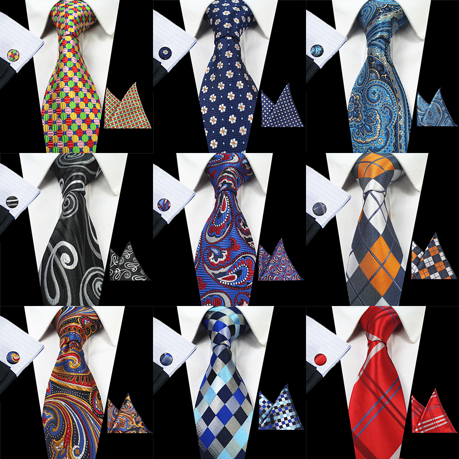 RBOCOTT 8cm Silk Jacquard Woven Mens Plaid Tie Red Paisley Tie Hanky Cufflinks Set Classic Brown Neck Ties For Wedding Business