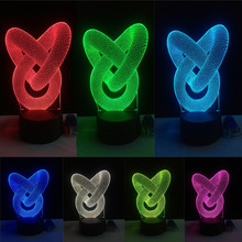 Dynamic Alternating 3D Double Ring 7 Color Gradient Night Light Visual Luminous Dimming Table Cafe Lamp Birthday Holiday Gifts
