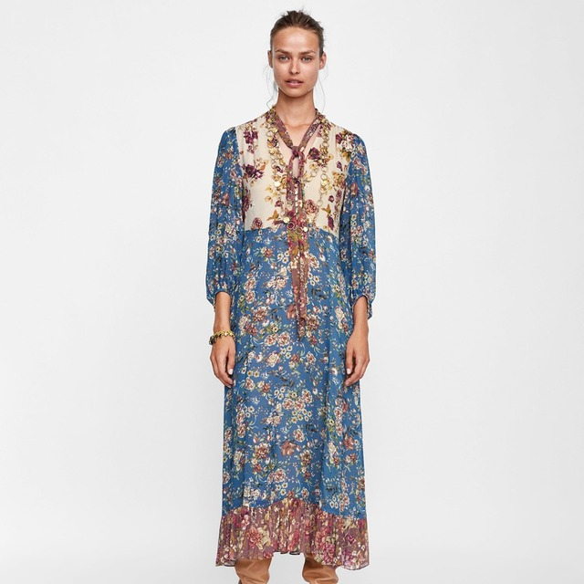 adc5f5a5 2018 Autumn Ladies Boho Patchwork Midi Dress 3/4 Sleeve Floral Print Long  Hippie Dress Women Sexy V Neck With Tie Vintage Dress