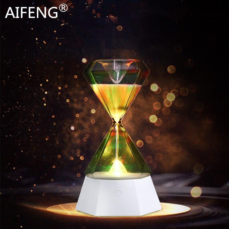 aifeng ampulheta noite lampada 15 minutos areia ampulheta temporizador 7 cores em mudanca de luz da