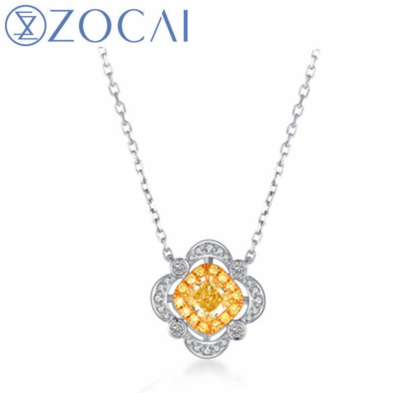 ZOCAI BRAND WEDDING NECKLACE REAL GIA CERTIFICATED 0.35 CT FANCY INTENSE YELLOW DIAMOND 18K WHITE GOLD PENDANT 925 SILVER CHAIN bk 4371 18k alloy crystal artificial fancy color diamond pendant necklace golden 45cm