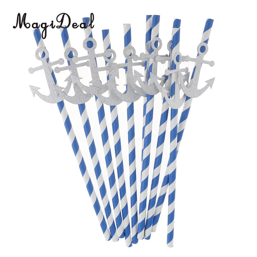 MagiDeal Delicate 10Pcs Stripe Paper Nautical Anchor Drinking Straws for Tropical Party Birthday Baby Shower Decoration Blue