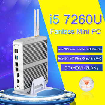 [i7 8550U/7560U i5 8250U/7260U] Fanless Mini PC Windows 10 Pro Micro Computer 2*DDR4 Msata M.2 SSD TV Box 4K HD HTPC 300M WiFi