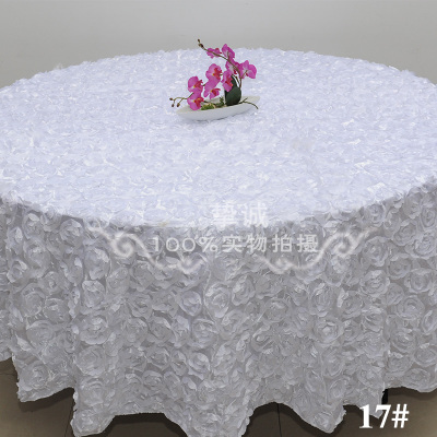 White 2.6 M Wedding Round Table Cloth Overlays 3D Rose Flower Tablecloths  Wedding Decoration Supplier 7
