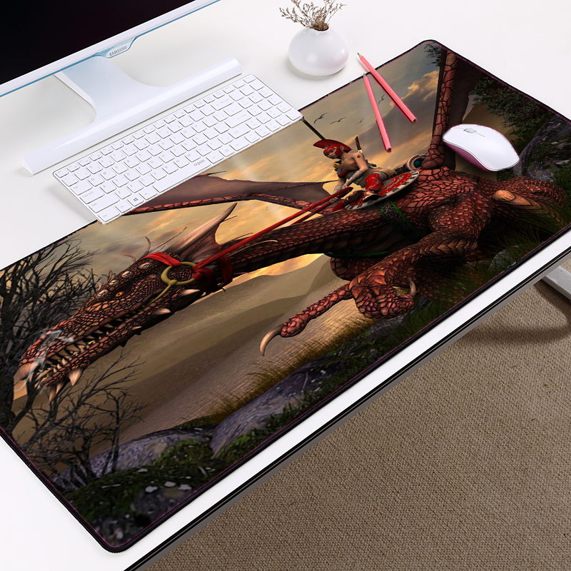 Congsipad Dragons Dragon Table Mats 400x900mm Big Size To Decorative Tabletop or Give A Gift To Friend Locked Edge for LOL DOTA2
