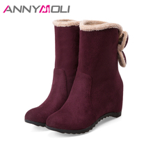 ANNYMOLI Winter Boots Women Mid-Calf Boots Flower Wedges  Fashion Velvet Boots Increasing High Heels Shoes Blue Red Big Size 43