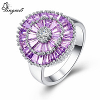 lingmei Flower Purple & Pink Round White Cubic Zirconia Silver Color Size 6 7 8 9 Beautiful Fashion Women Jewelry Wholesale Gift