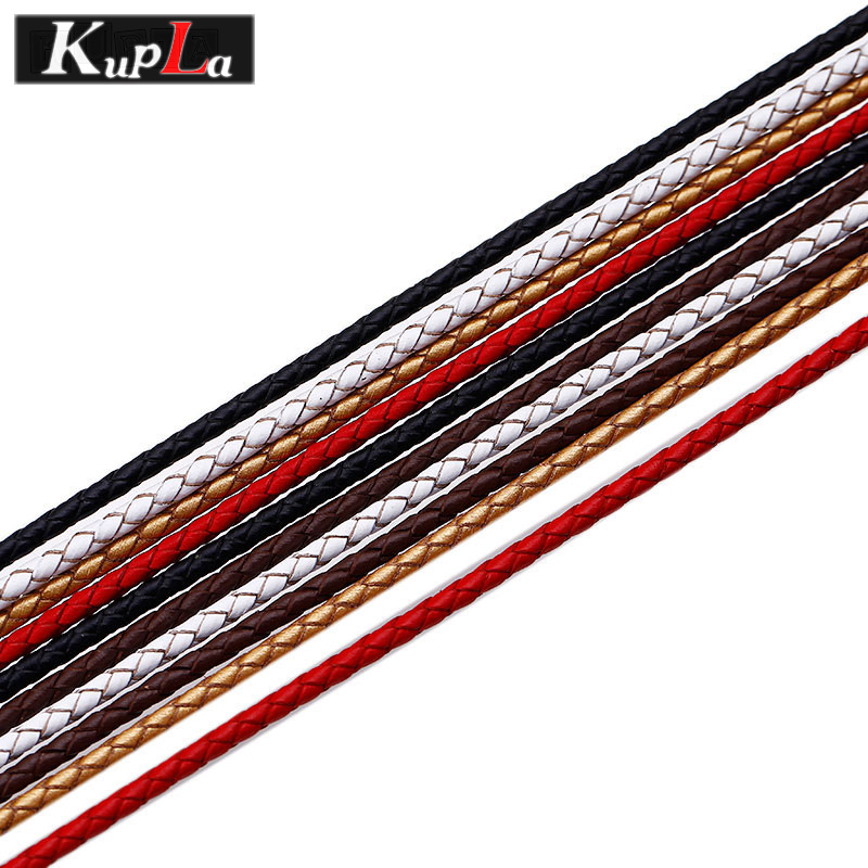 Kupla 3mm Genuine Leather Cords Jewelry Findings & Components Fashion High Quality Leather Rope for Diy Jewelry Making 5m/lot