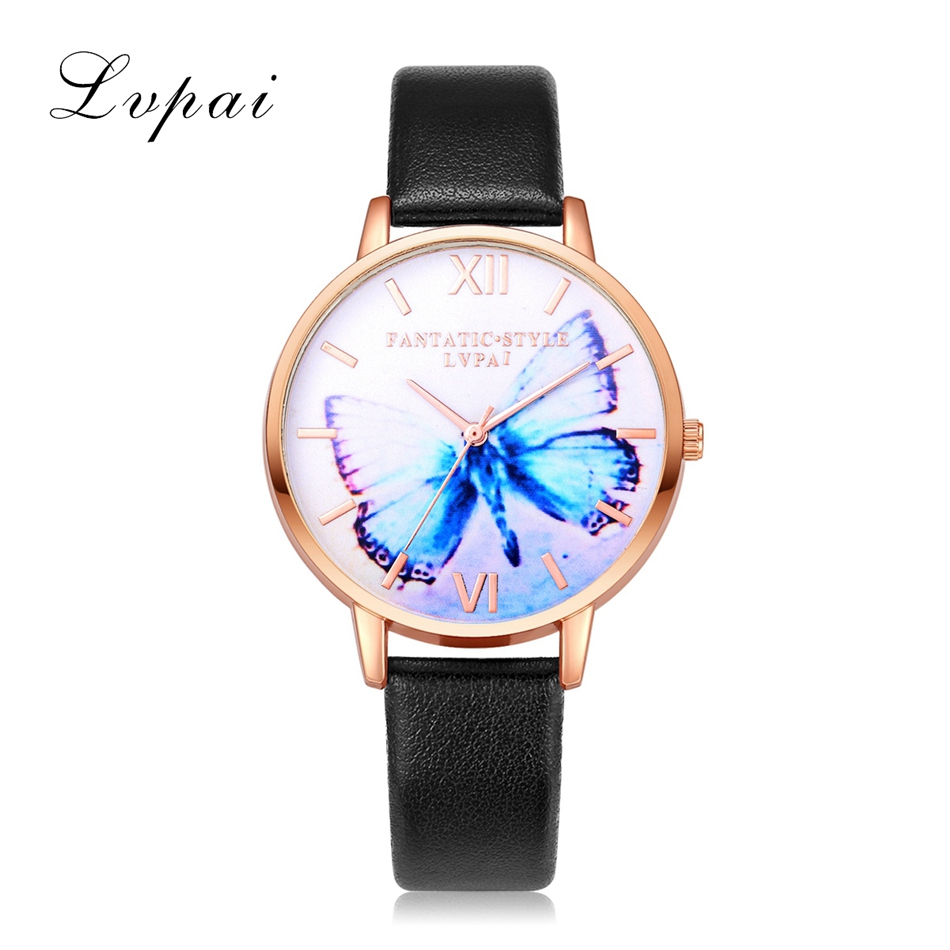 2017 New Arrive Fashion Casual Watches Rose Gold Blue Butterfly Leather WristWatches Women Sport Quartz Watch Dress Ladies LP154 gaiety women brand watches luxury rose gold leather quartz ladies wristwatches fashion sport women casual dress watch clock g447