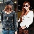 Roupas femininas 2014 nova moda Sexy T Shirt do estilo coreano Tops Tee roupas de manga comprida t-shirt camisa Slim Plus Size 18