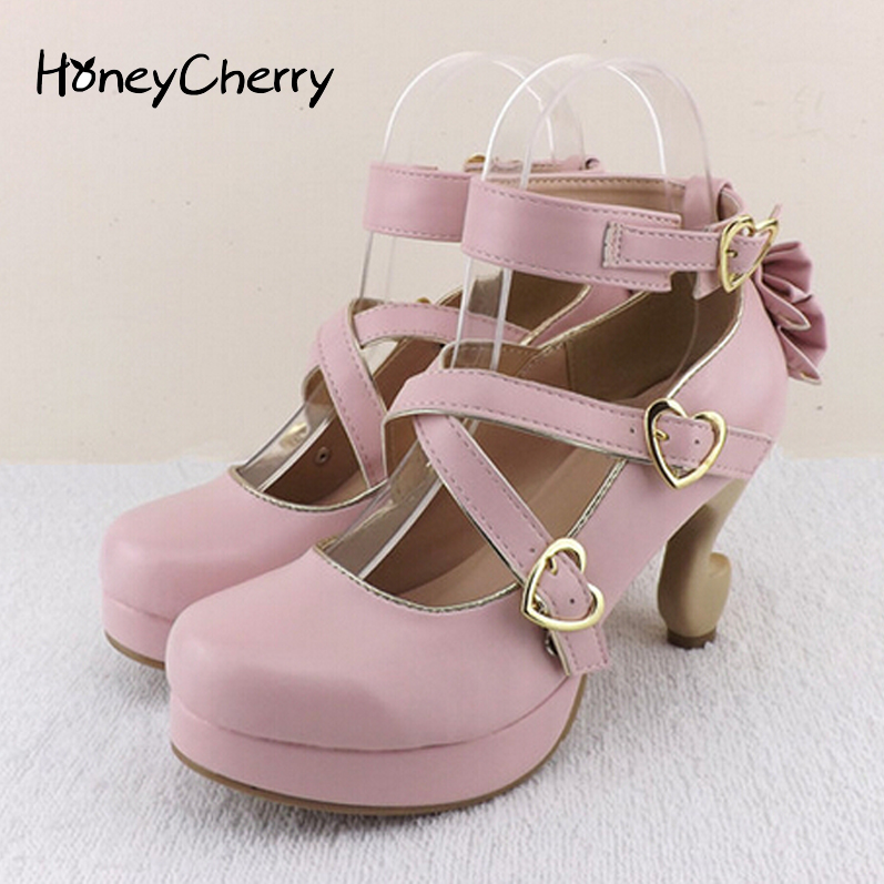 ФОТО HoneyCherry 2016 New fashion women shoes lolita high heels desk leg bow single shoes women's cute shoes women pumps