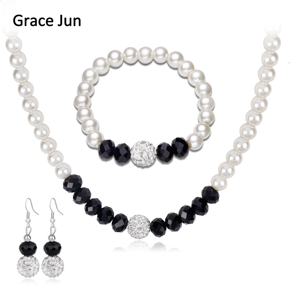 Grace Jun 15 Colors High Quality Luxury Glass Simulated Pearl Necklace Earrings Bracelet for Women Party Wedding  Jewelry Set