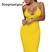 Sexy Night Club Backless Long Dress Yellow Women V Neck Spaghetti Strap  Office Bandage Dress Classy 93ecccfc68b0