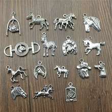 10pcs/lot Charms Horse Antique Silver Color Horse Pendant Charms Horse Head Charms For Jewelry Making(China)