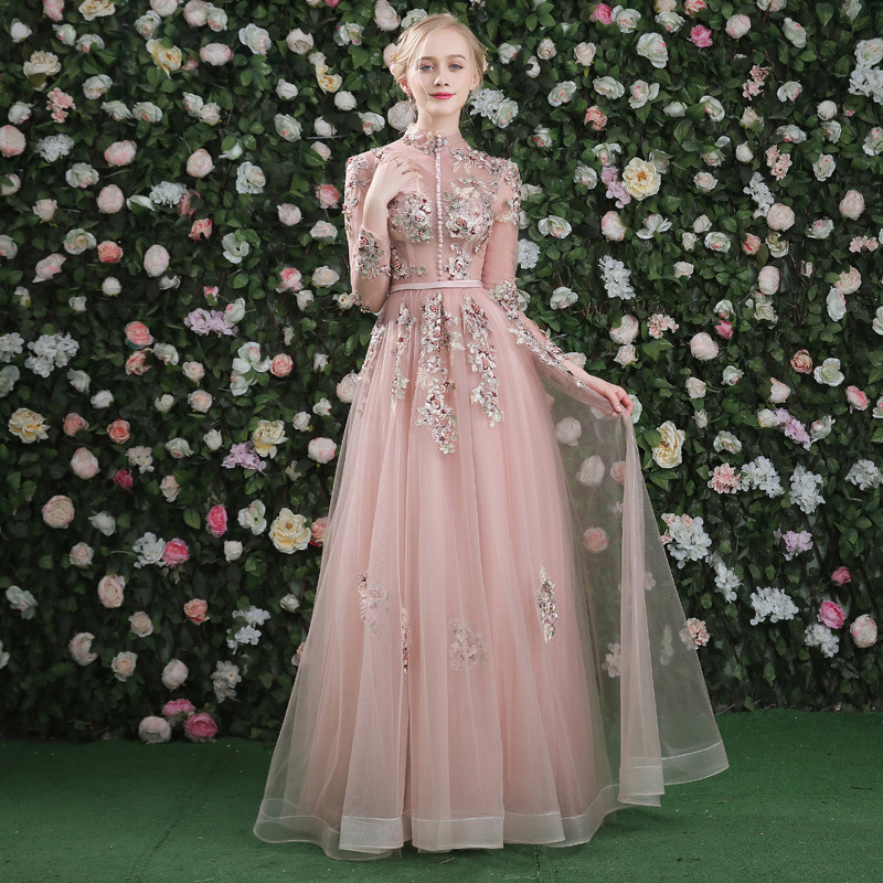 Evening Dress Pink Long Sleeves Floral Print Lace Up A line Floor Length Party Gown Evening Gowns Prom Dresses in Evening Dresses from Weddings Events