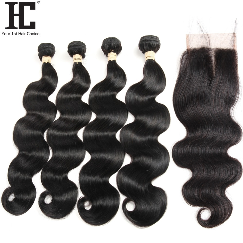 HC Peruvian Body Wave Hair 4 Bundles With Closure Can Be Dyed Non Remy Human Hair Weave With Lace Closure 4x4 Baby Hair 5 Pcs