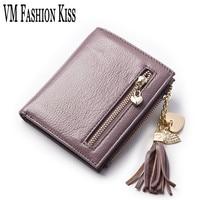 VM FASHION KISS 100 Genuine Leather 2 Fold Women Short Wallets Diamond Studded Peach Heart Tassel