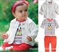 2016 nueva Original baby girl rayas búho de Dibujos Animados ropa del cabrito de la capa + camiseta + pantalones 3 unids traje ropa de los niños al por menor