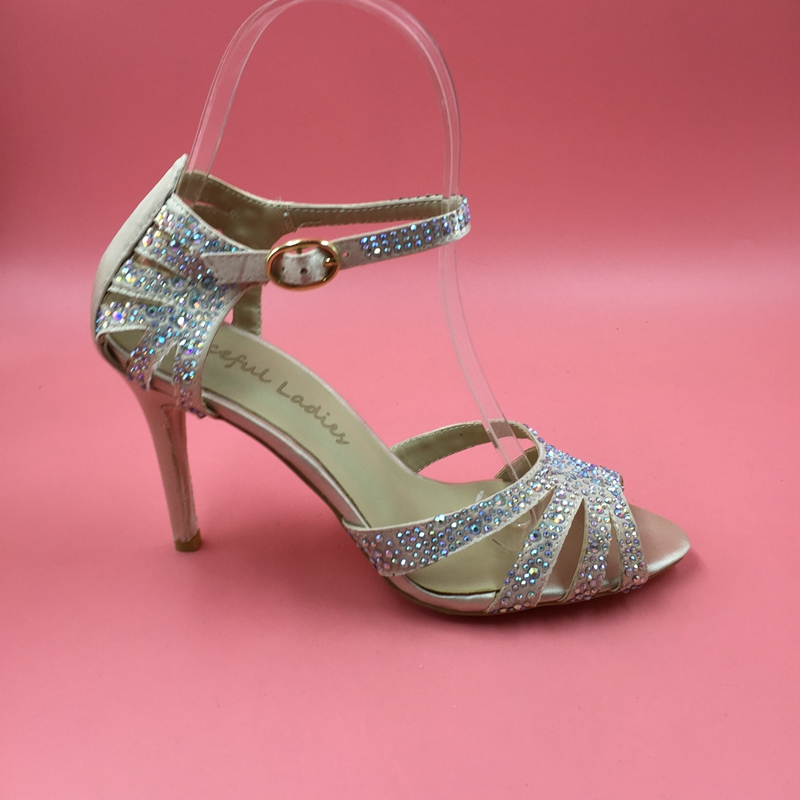 Satin Wedding Shoes Rhinestones Cross Strap Covered Heels Open Toe Buckle Bridal Party Sandals High Heel Women Rhinestone Sandal boxpop lb 081 35