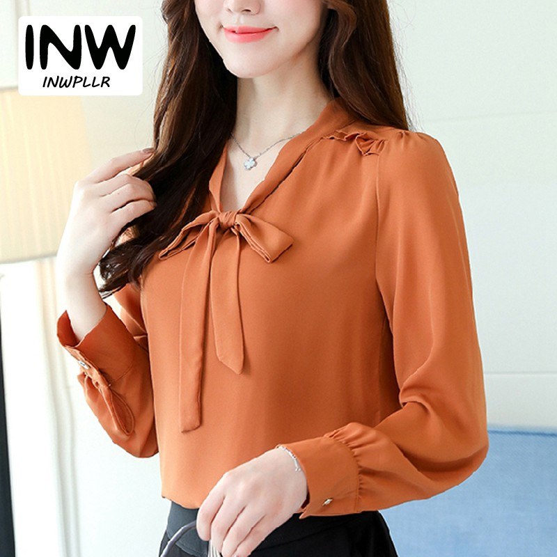 2018 Spring New Arrival Solid Long Sleeve Shirts Plus Size Tops Chiffon Blouse Shirt Womens Casual Bow V-neck Blusas Mujer ...