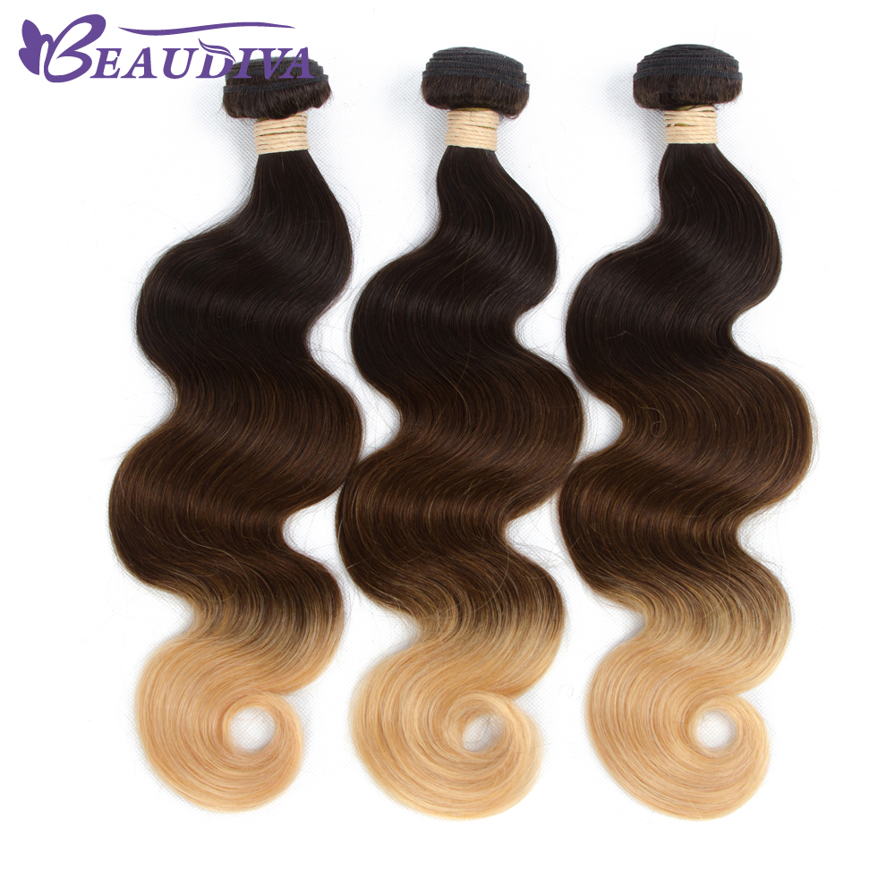 BEAUDIVA Brazilian Body Wave Pre-Colored 1B/4/27 Body Wave Ombre Brazilian Human Hair Weave Ombre Color Ombre Hair Extensions