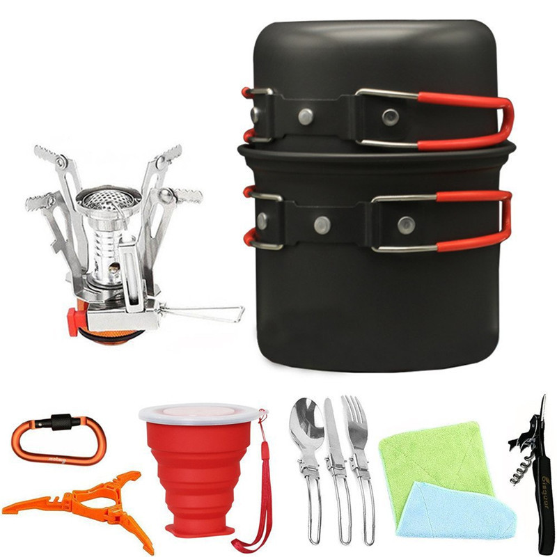 Outdoor Camping Cookware Set Portable Folding Pot Set Ultra light Cooking Tableware Pot For Picnic Hiking Fishing Equipment