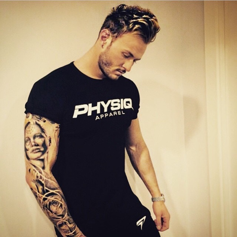 PHYSIQ brand Men cotton   t     shirts   fashion Casual gyms Fitness workout Short sleeves tees 2017 summer new male tops clothing